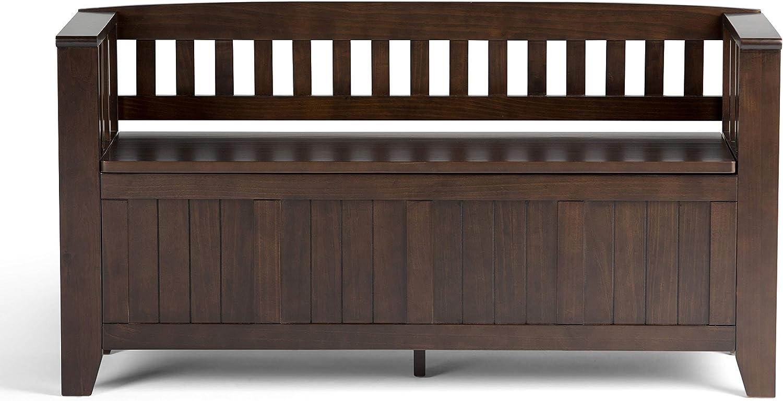 Simpli Home AXCRACA13-BRU Acadian Solid Wood 48 inch Wide Rustic Entryway Storage Bench in Brunette Brown