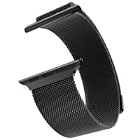 Shopizone® 42mm Stainless Steel Wooven iWatch watchband New Watch Strap for Apple Watch Series 1 2 & 3 (Black)
