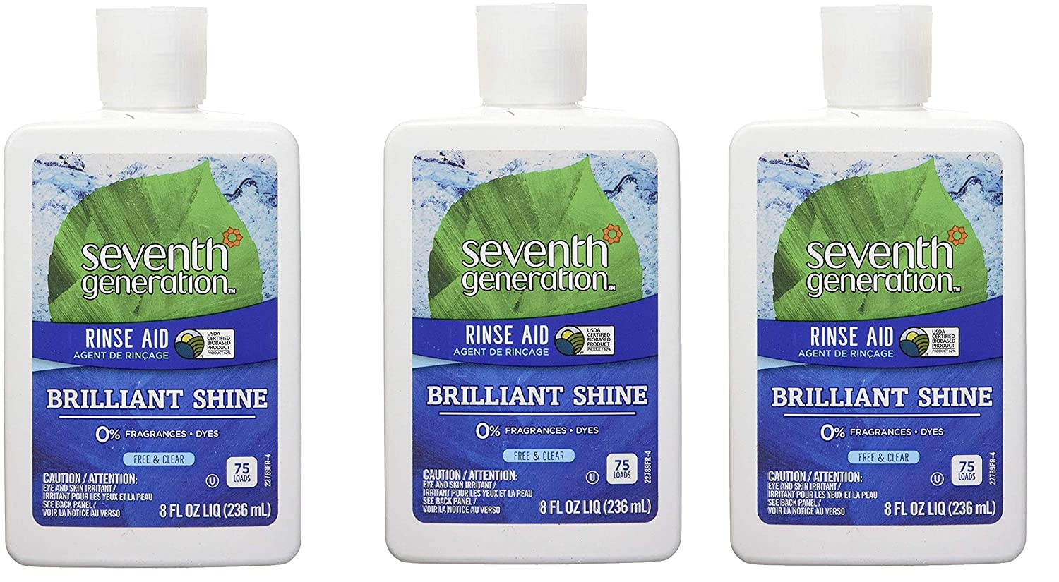 Seventh Generation Rinse Aid Free & Clear, 8 oz (3 Pack)