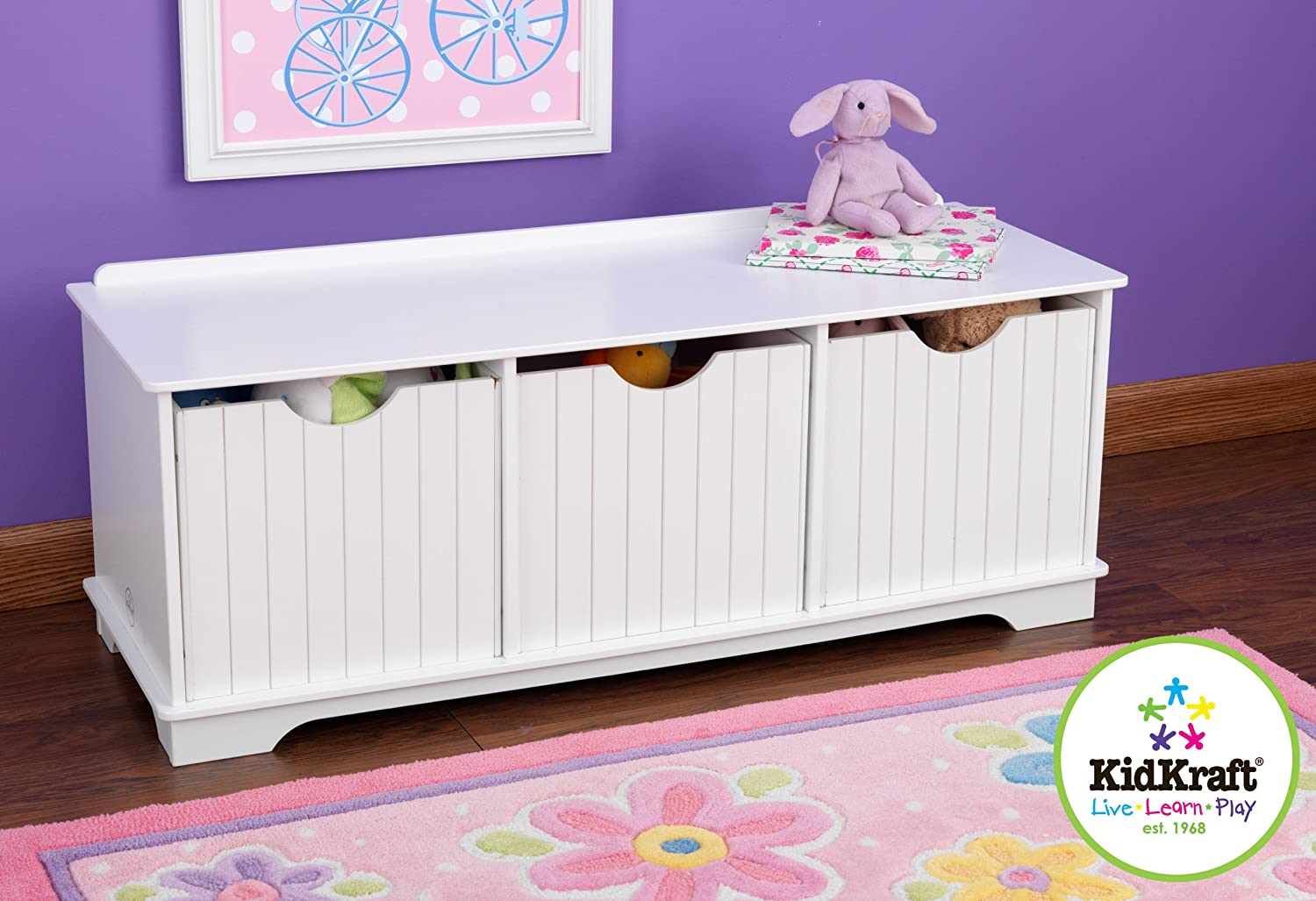 amazoncom kidkraft nantucket storage bench white toys games - Kids Room Storage Bench
