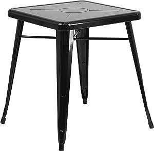 "Flash Furniture Commercial Grade 23.75"" Square Black Metal Indoor-Outdoor Table"