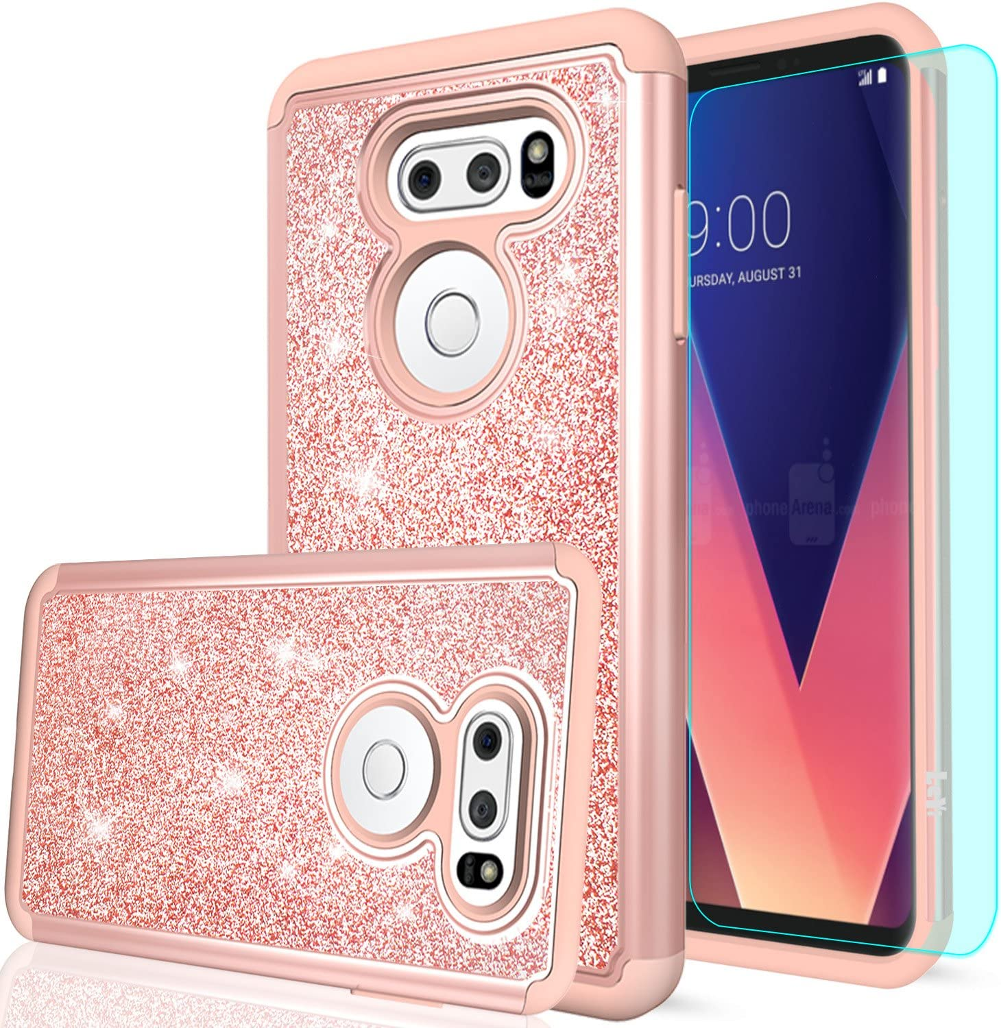 LG V30 Case, LG V35 ThinQ Case, LG V30+ / V30 Plus/ V30S ThinQ Case with HD Screen Protector for Girls Women, LeYi Glitter Bling Dual Layer Heavy Duty Phone Case for LG V30 / LG V35 ThinQ TP Rose Gold
