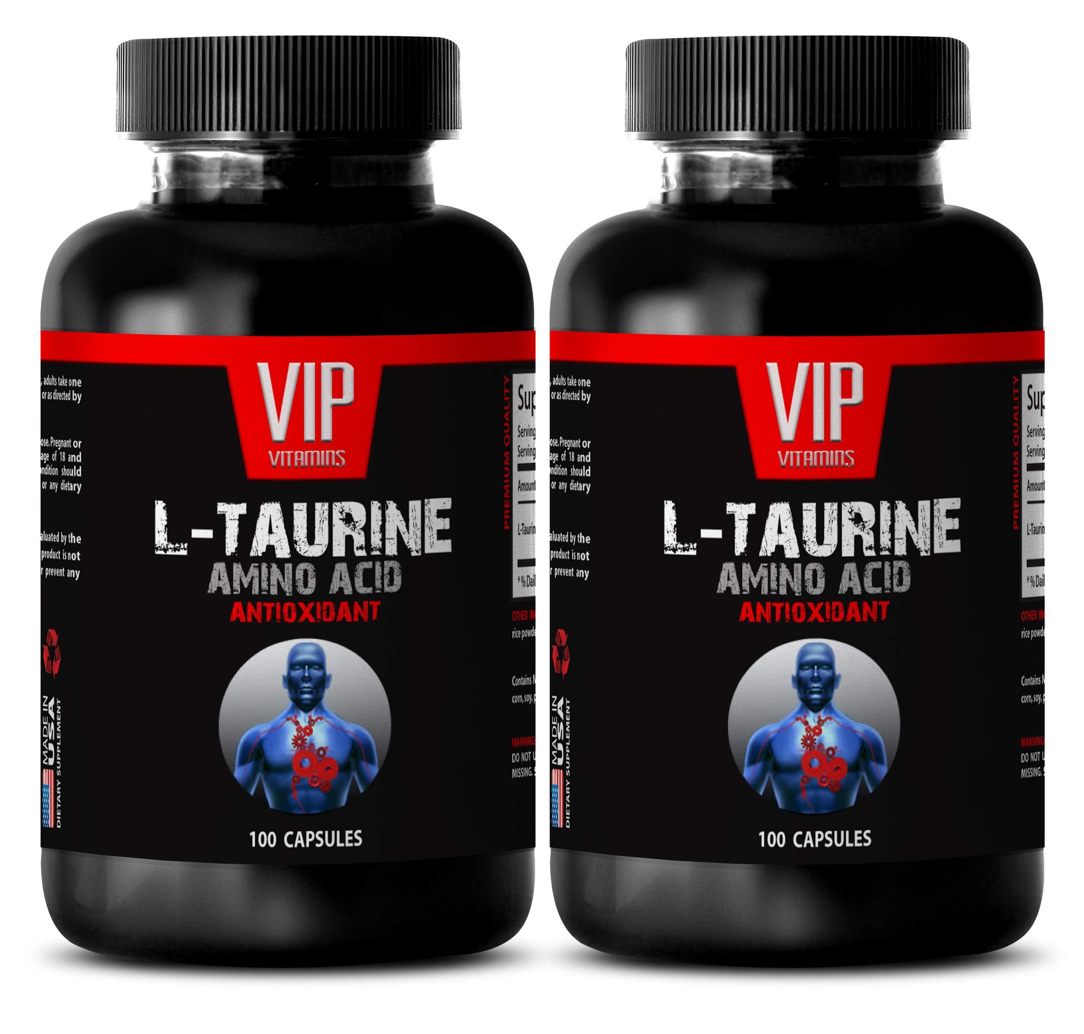 Anti inflammatory Supplement Capsules - L-Taurine 500MG - Amino Acid - ANTIOXIDANT - Taurine Bulk - 2 Bottles (200 Capsules)