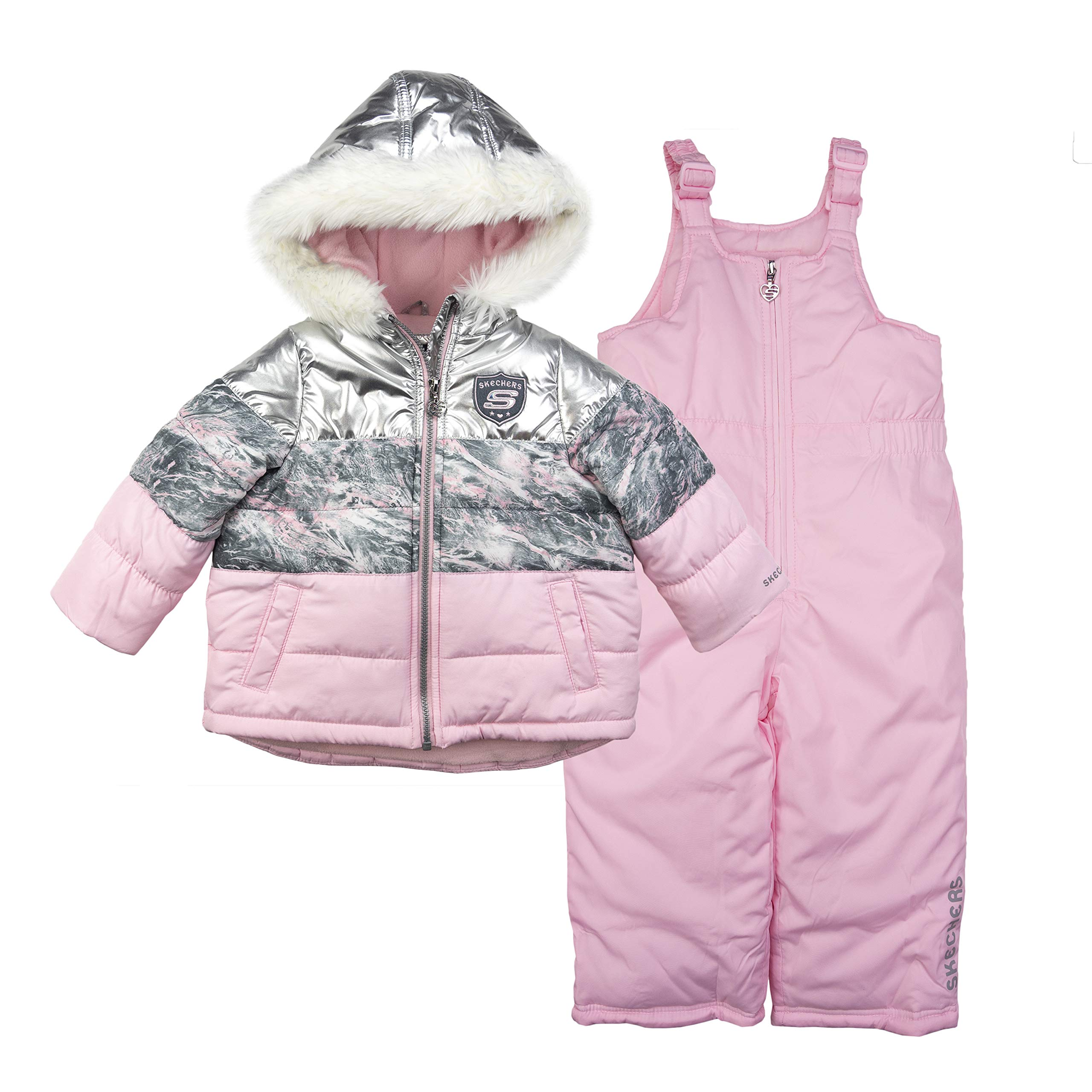 Skechers Girls' Little 2-Piece Heavyweight Snowsuit, Silver Metallic/Pink, 6X by Skechers