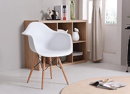 Amazoncom Hodedah Import Hic403 White Mid Century Modern Chair