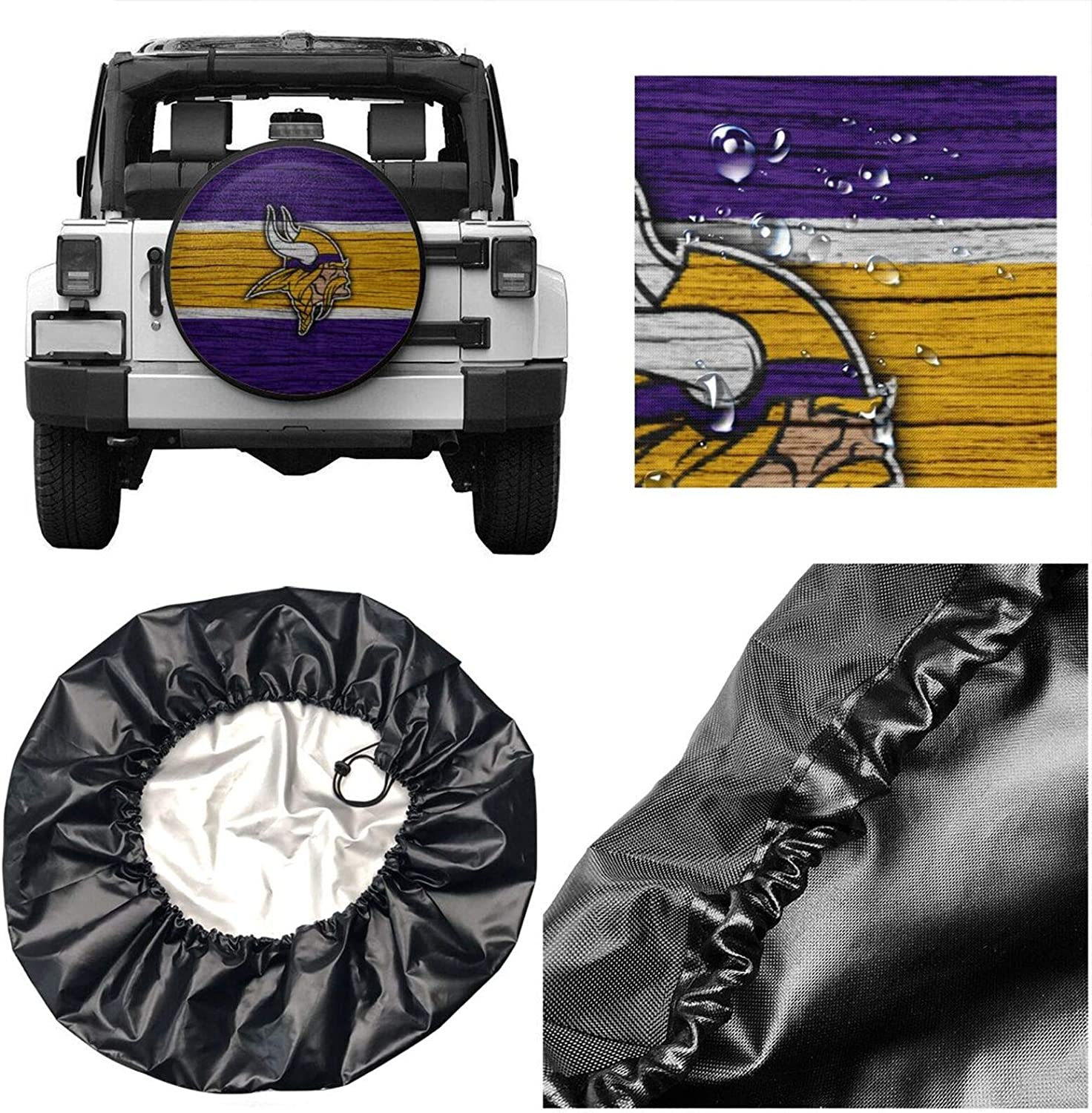 Truck etc. RV SUV Kangmei Tire Covers Minnesota American Football V-iki-ngs Universal Spare Wheel Tire Cover for Trailer