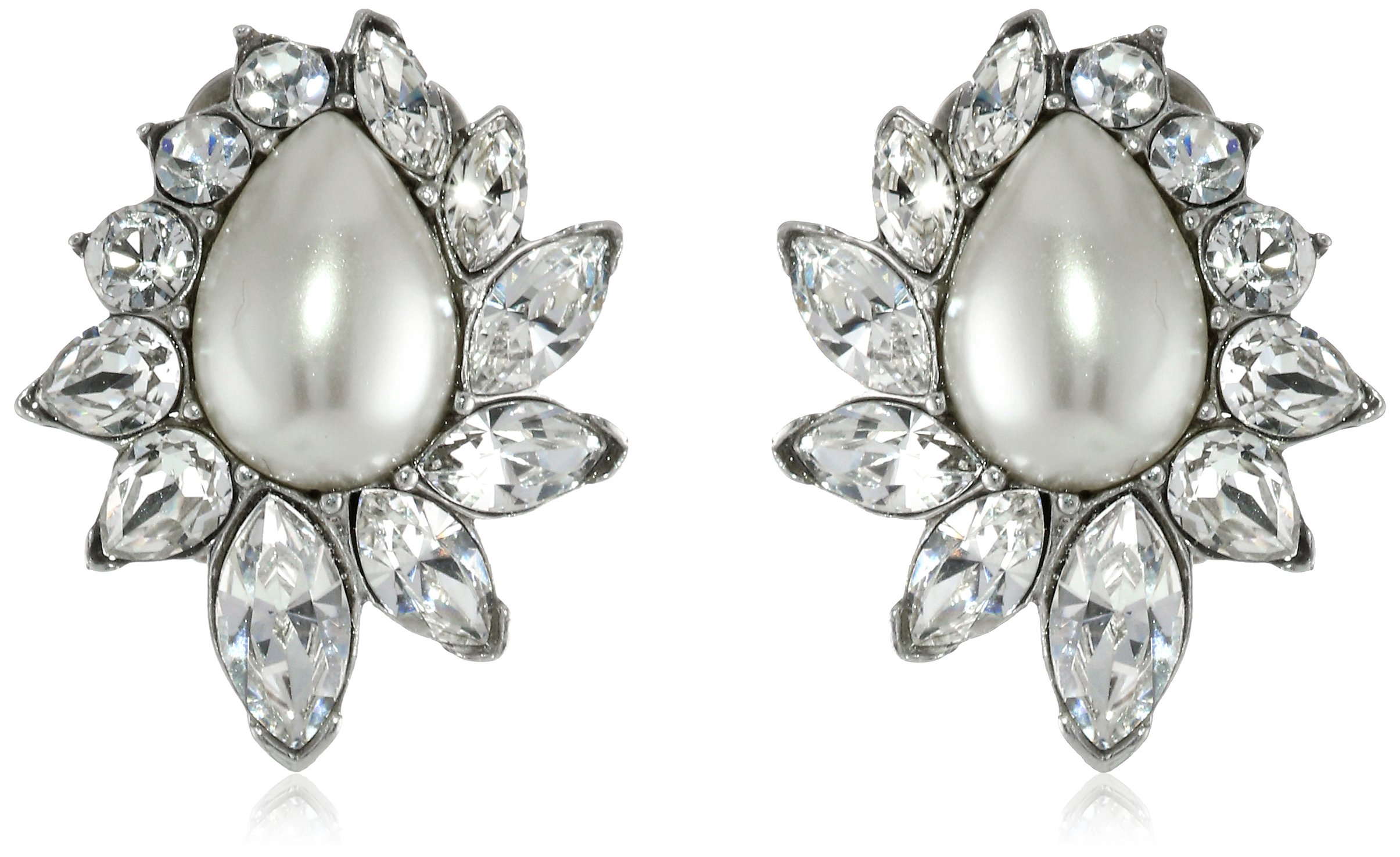Ben-Amun Jewelry Glass Pearl and Swarovski Crystal Clip-On Earrings for Bridal Wedding Anniversary