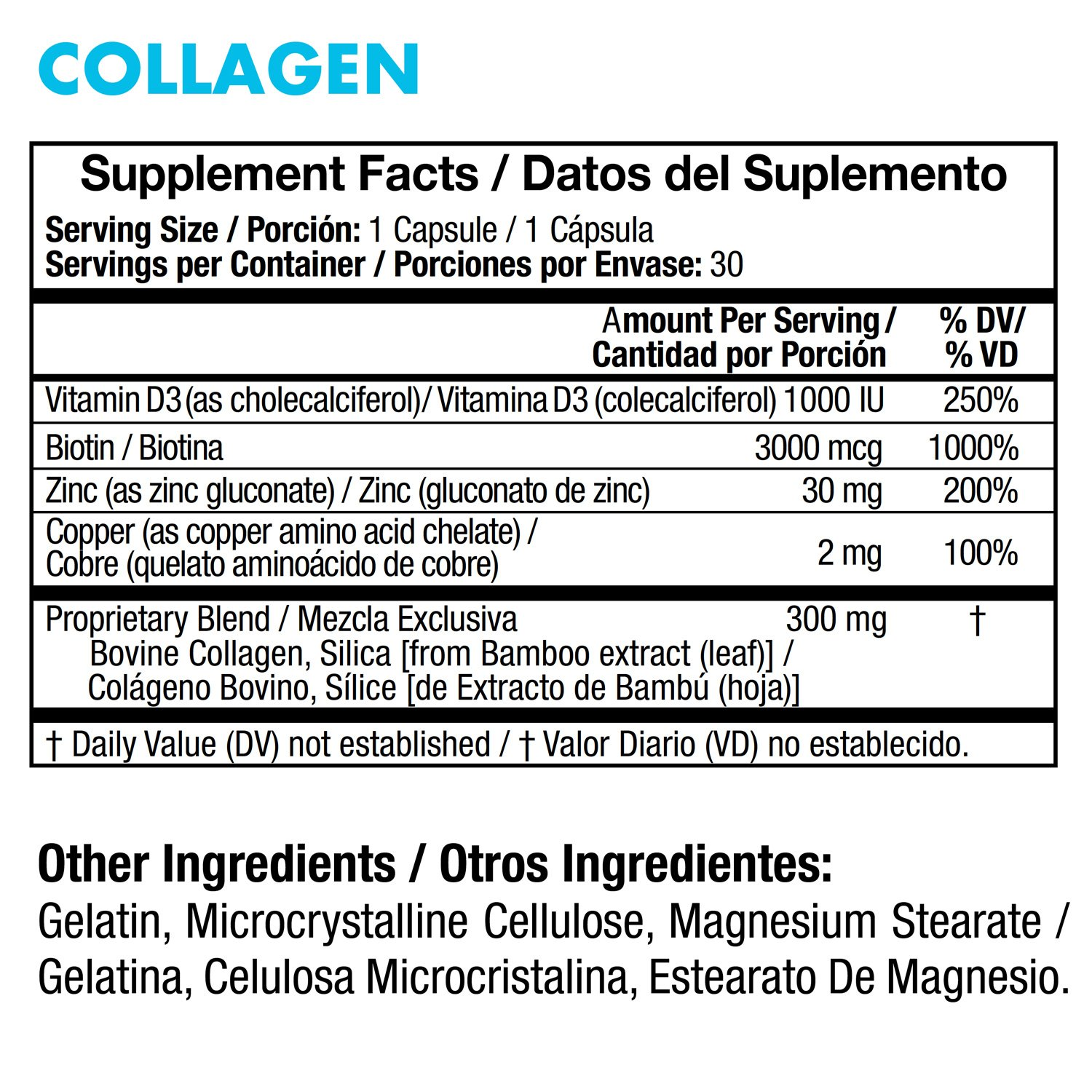 Collagen - Supports Healthy Joints and Skin, Contains Biotin, Vitamin D3, Zinc, Copper and Silica - Colágeno para Articulaciones, Huesos, Cabello y Uñas ...
