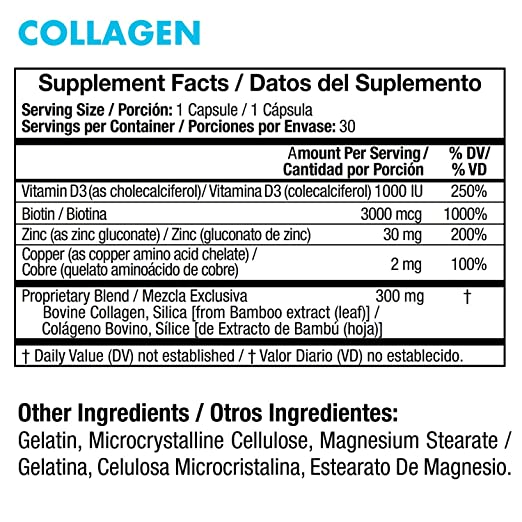 Amazon.com: Yes You Can! Collagen - Supports Healthy Joints and Skin, Contains Biotin, Vitamin D3, Zinc, Copper and Silica - Colágeno para Articulaciones, ...
