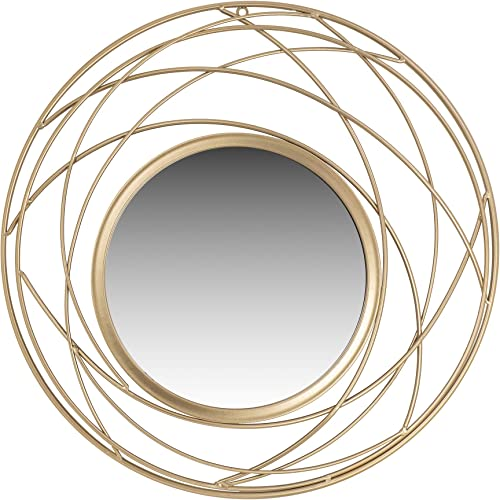 Champagne Metal Round Wall Accent Mirror
