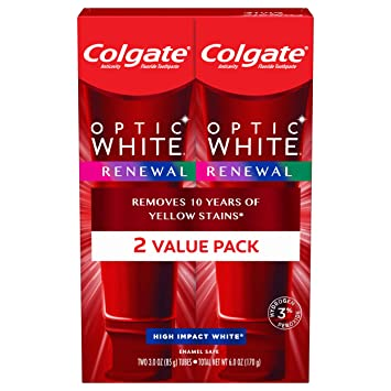 Amazon Com Colgate Optic White Renewal Enamel Strength Teeth Whitening Toothpaste Beauty