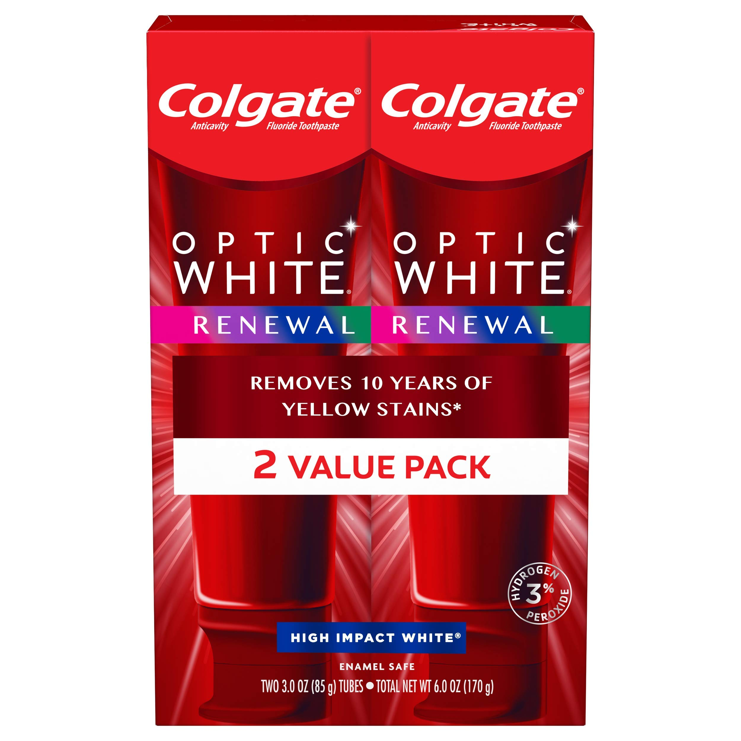 Colgate Optic White Renewal Teeth Whitening Toothpaste with Fluoride, 3% Hydrogen Peroxide, High Impact White - 3 ounce (2 Pack)