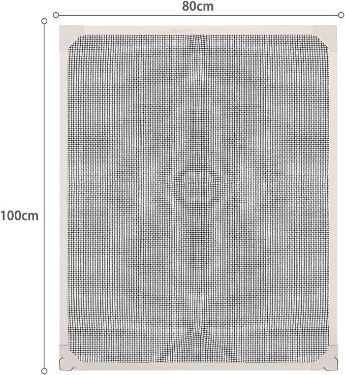 Sekey Pantalla de ventana magn/ética a medida Ensamblaje sin Herramientas Marco Blanco Kit de Pantalla de Insectos con Tiras Magn/éticas para Ventanas de Hasta 80x100cm