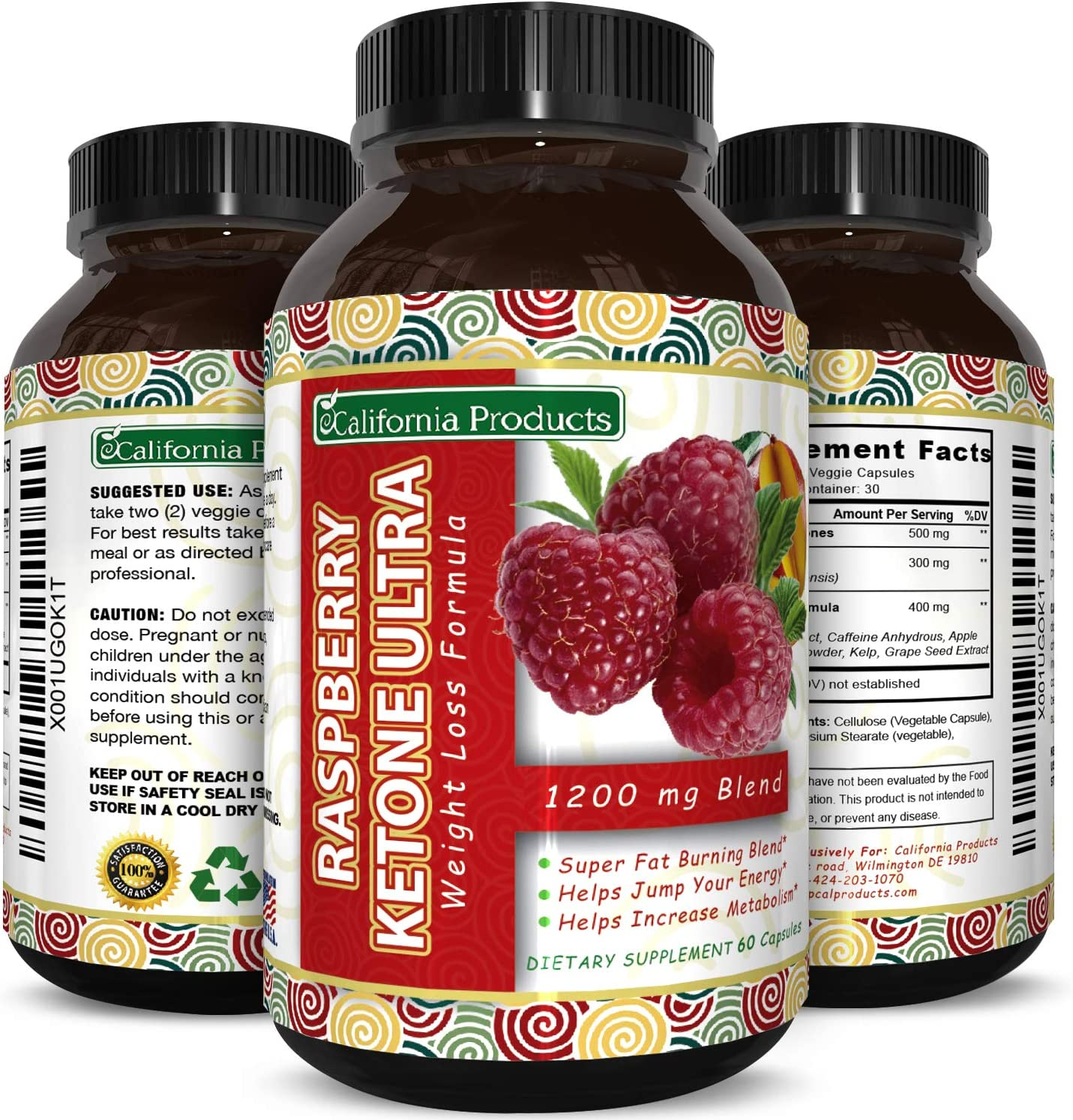 Blend Of Raspberry Ketones, Green Tea Extract And African Mango, Lose Weight Faster with Natural Ingredients To Speed Up Weight Loss, Suppress Appetite Burn Fat, 60 Capsules