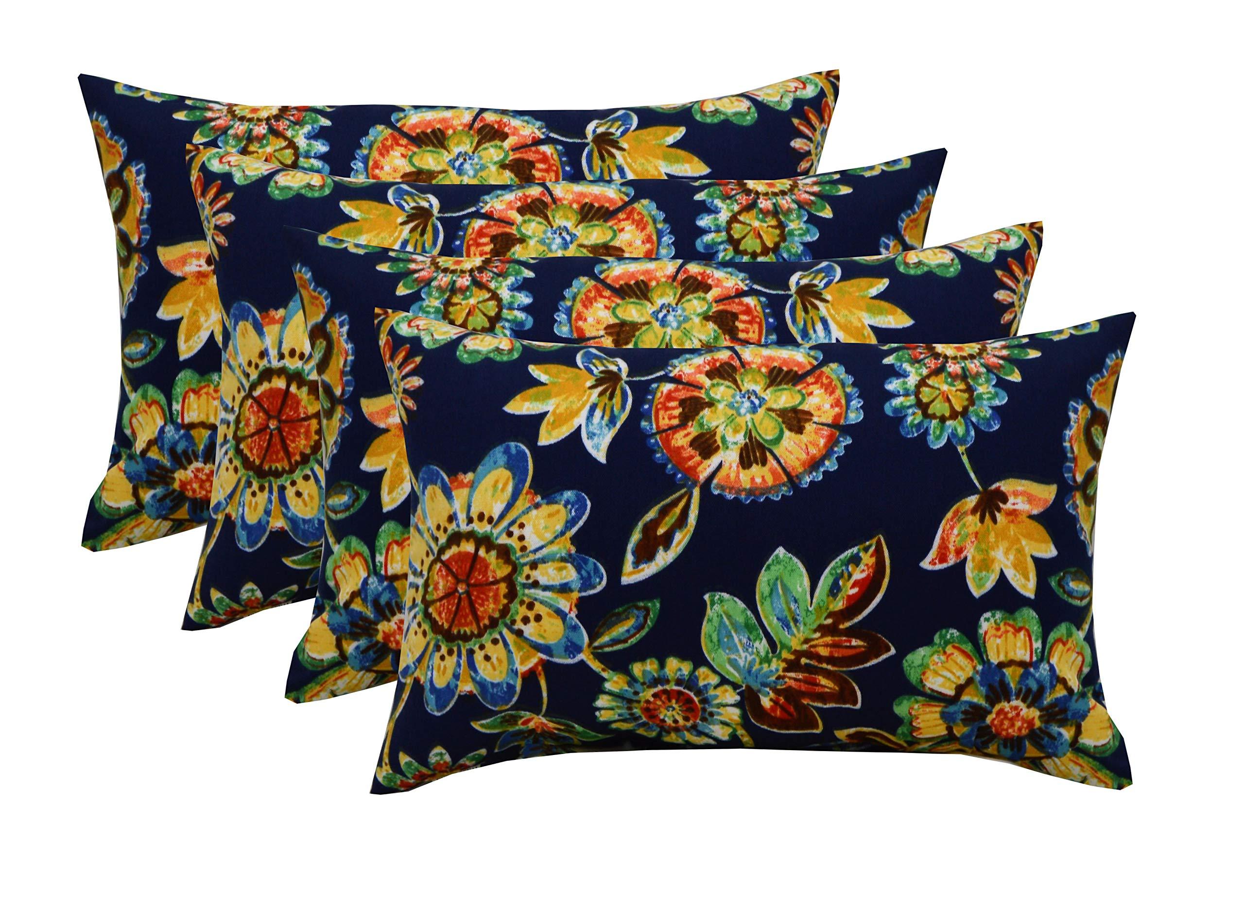RSH DECOR Set of 4 Indoor/Outdoor 12''x20'' Rectangle Lumbar Decorative Throw Pillows - Daelyn Navy Blue Floral