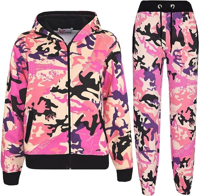 Kids Girls Tracksuit Camo Baby Pink Fleece Hooded Jogging Suit Bottom Jogger2-13