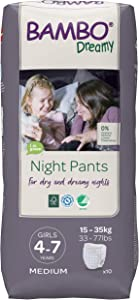 Bambo Nature Dreamy Girl Premium Night Pants, Aged 4-7 Size Medium (33-77 lb/15-35 kg) 6 x Pack of 10 (Case Saver)