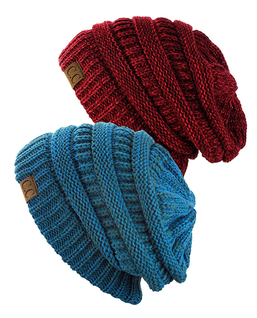 NYFASHION101 Exclusive Unisex Two Tone Warm Cable Knit Thick Slouch Beanie Cap