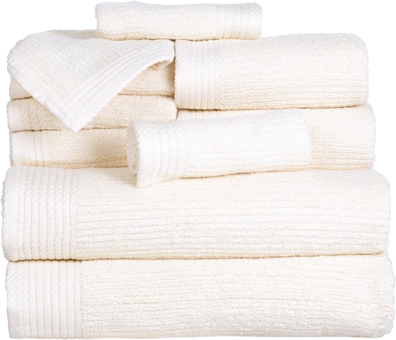 Lavish Home Ribbed Egyptian Cotton 10 Piece Towel Set Black