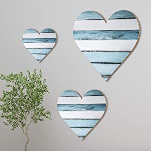 Jetec 3 Pieces Heart Shaped Wood Sign Heart-Shaped Wooden Wall Sign Wood Heart Wall Decor Rustic Hanging Sign Wooden Heart Plaque for Home Farmhouse Living Room Bedroom (Chic Color)