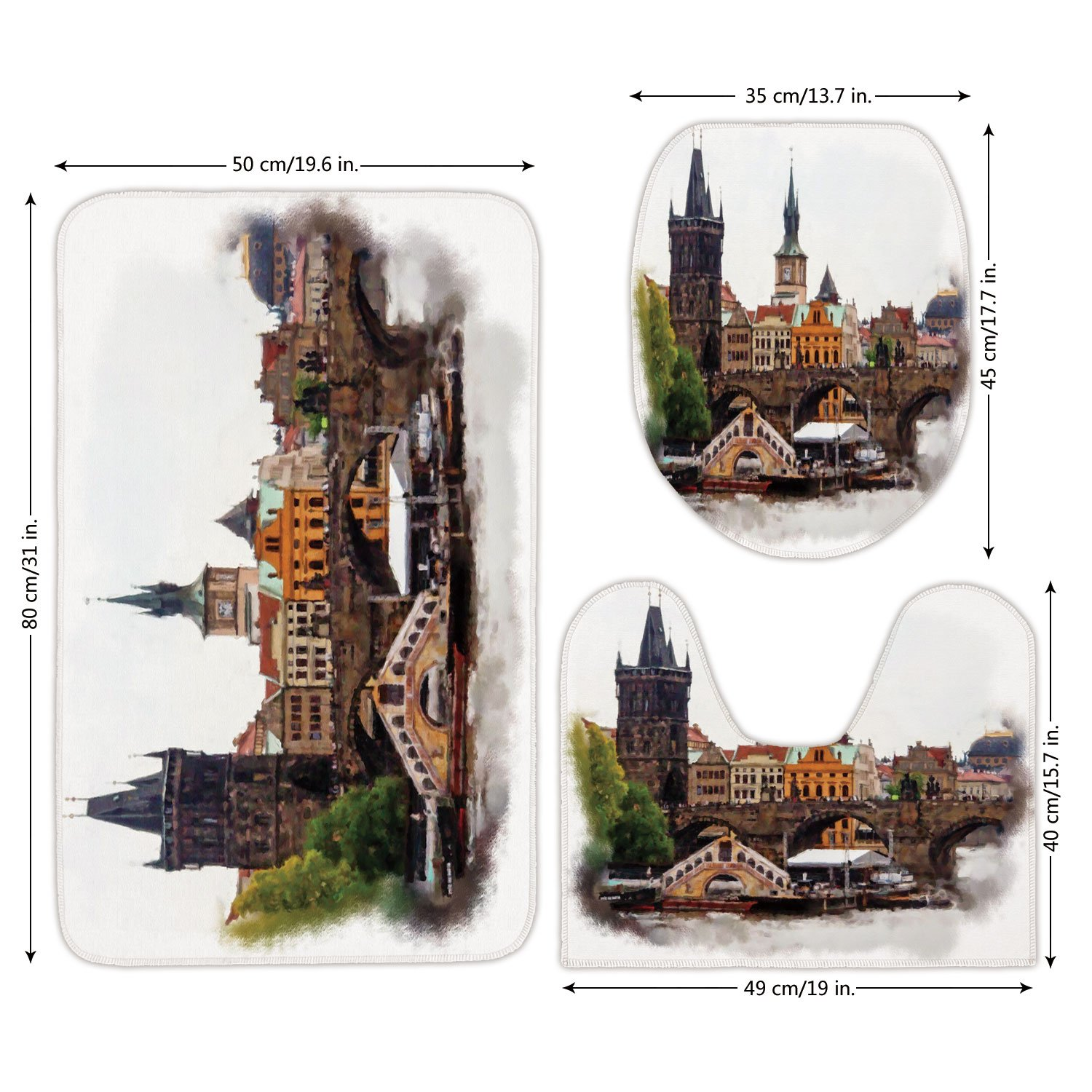 3 Piece Bathroom Mat Set,Scenery Decor,European Country Landscape with Houses and River Watercolored like Print,Multicolor,Bath Mat,Bathroom Carpet Rug,Non-Slip