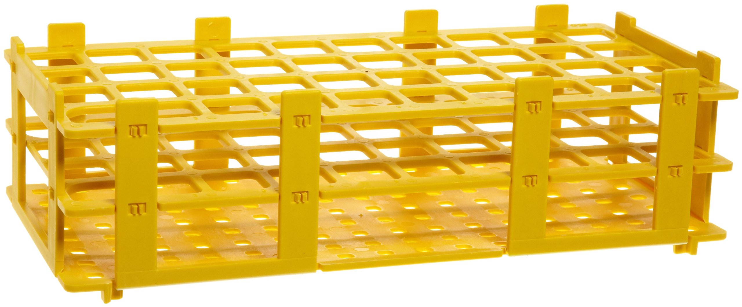 BrandTech 4340023 20mm 40 Tubes Yellow Polypropylene Test Tube Rack, 4 x 10 Tube, -20 to 90 Degree C Operating Temperature (Pack of 5)