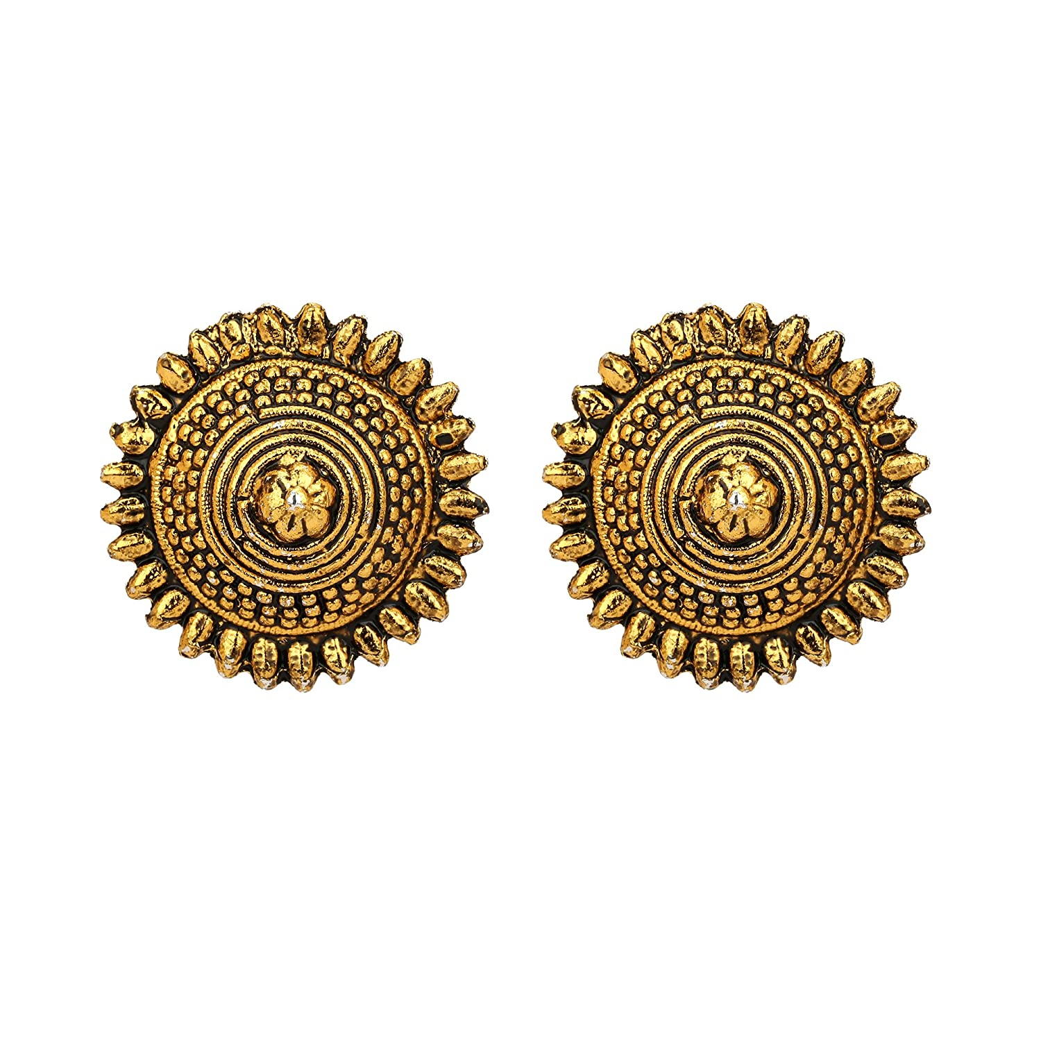 Jwellmart Afghani Bohemian Tribal Style Oxidized Stud Indian Earrings for Women and Girls