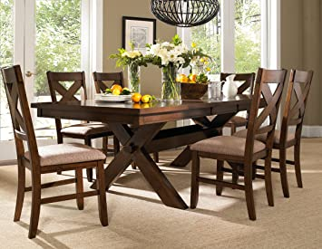 Amazon.com - Roundhill Furniture Karven 7-Piece Solid Wood Dining Set with Table and 6 Chairs - Table u0026 Chair Sets : solid oak dining table set - Pezcame.Com
