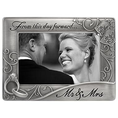 Malden International Designs Mr. & Mrs. Die Cast Metal Waves Frame, 4x6, Silver