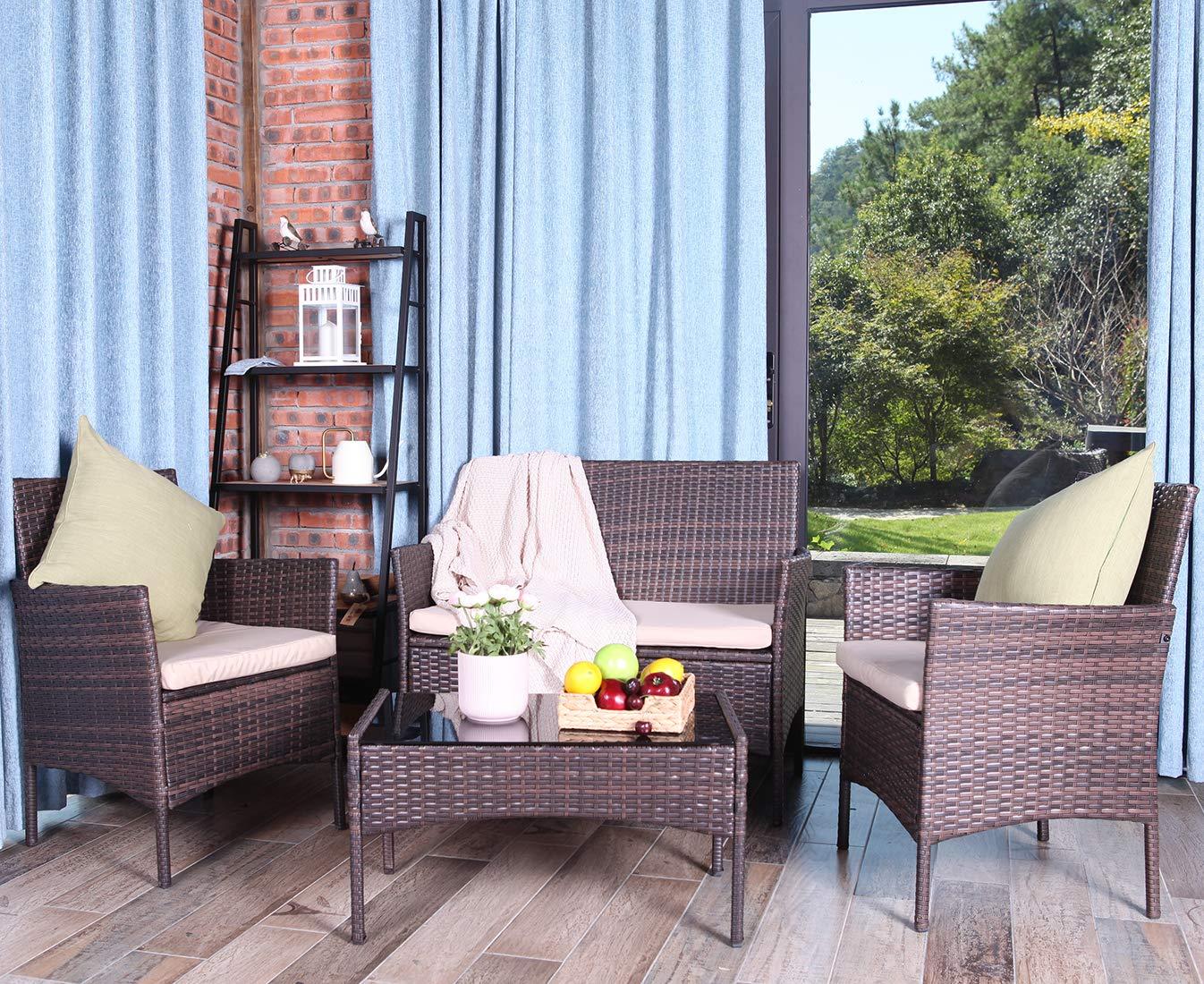 UFI 4PCS Outdoor Patio Furniture Sets Rattan Chair Wicker Set, Use Backyard Porch Garden Poolside Balcony RTA Furniture, Brown
