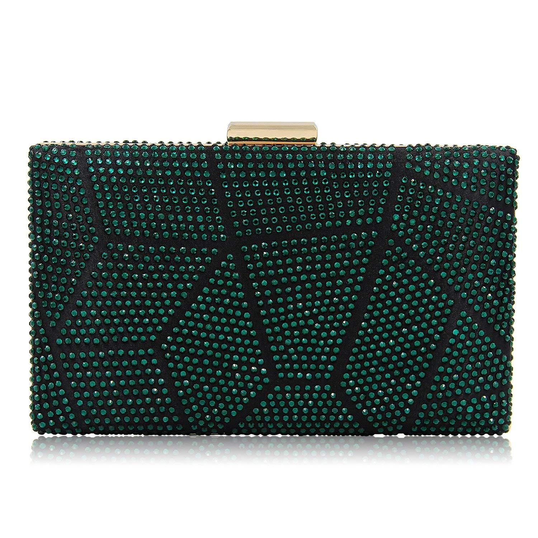 Women Clutches Crystal Evening Bags Clutch Purse Party Wedding Handbags (Green)