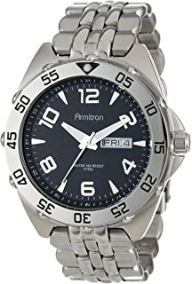 Armitron Mens 204665BKSV Silver-Tone Stainless-Steel Black Dial Dress Bracelet Watch