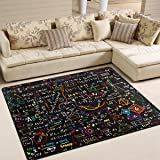 Naanle Educational Area Rug 5'x7', Chemistry Formulas Laboratory Polyester Area Rug Mat for Living Dining Dorm Room Bedroom Home Decorative