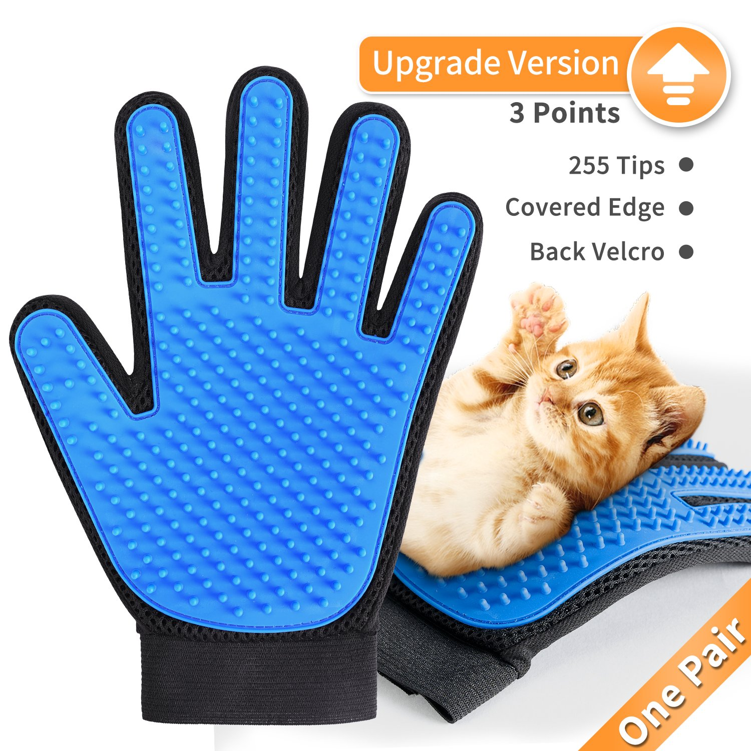 DESINO [Upgrade Version] Pet Grooming Glove Efficient Pet Hair Remover Mitt, Gentle Deshedding Bathing Brush Glove, Massage Tool for Dogs and Cats with Long and Short Fur, 1 Pair