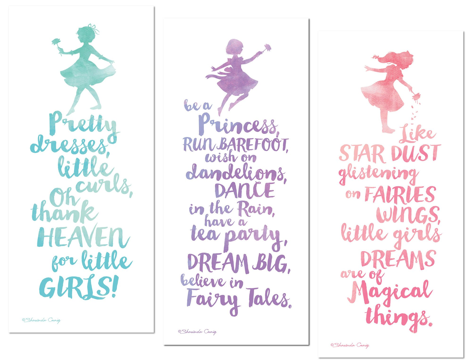 Gango Home Décor Adorable Teal, Pink and Purple Watercolor-Style Little Girl Typography Panel Set; Nursery or Child's Room; Three 6x18in Wall Decals by Gango Home Décor