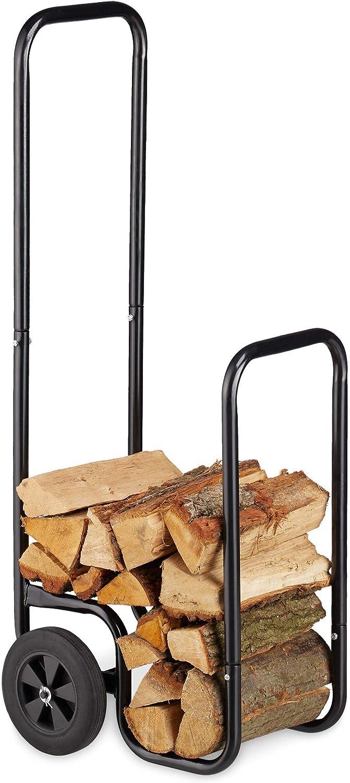 Relaxdays, Negro Carro Leña, Leñero Interior con 2 Ruedas, hasta 60 kg de Carga, Acero, 100 x 41 x 42,5 cm
