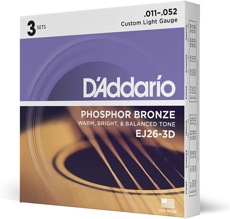 D'Addario EJ26-3D - Juego de cuerdas para guitarra acústica, material de fósforo/bronce, .011 - .052, paquete de 3