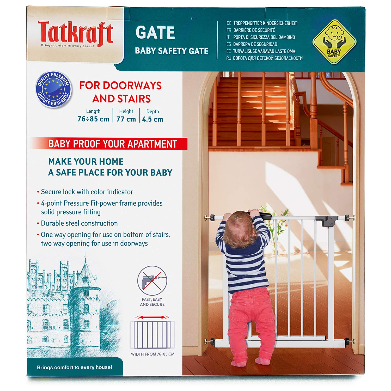 Tatkraft Adjustable Baby Gate for Stairs and Doorways with OpenClose Indicator, Durable Retractable Safety Gate Pressure Fit, Dimensions: 29.9-33.5 X 30.3 X 1.8 inchs, Durable Steel, White