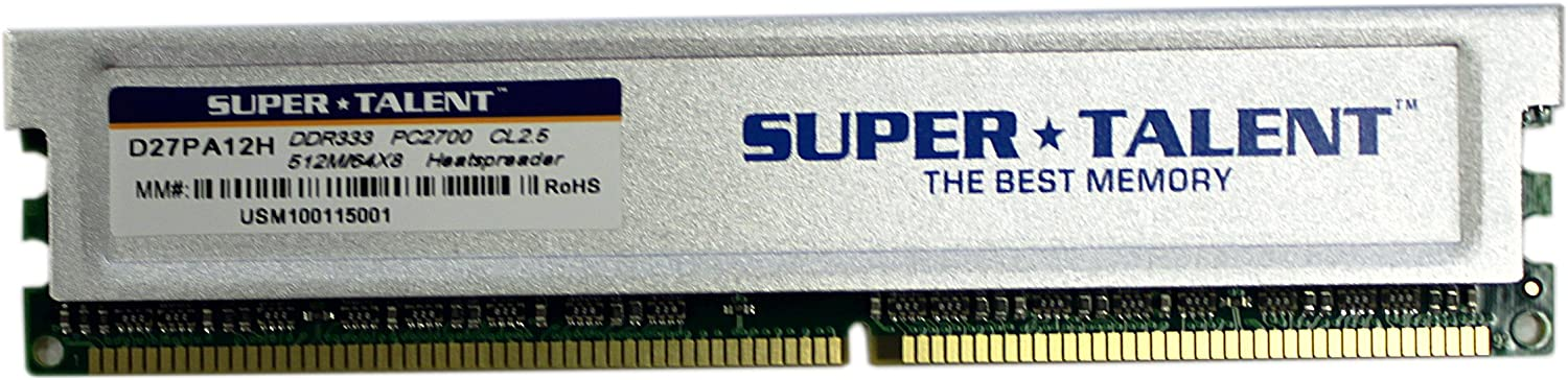 Super Talent DDR333 512MB/64X8 CL2.5 8-Channel Memory (PC and Mac G5) D27PA12H