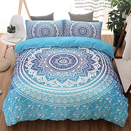 Juego de cama con edredón impreso en 3D conjunto de cama con Mandala Bohemia Textiles para el hogar para adultos ropa de cama con funda de almohada #
