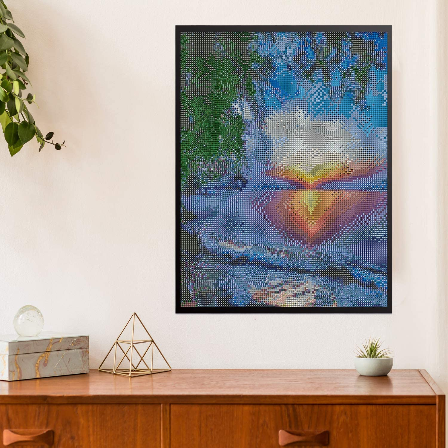 45 x 35 cm Elcoho 5D DIY Diamond Painting Love Beach Rhinestone Painting Cross Stitch Full Drill Crystal Embroidery Pictures for Home Wall Decor