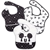 Bumkins Disney SuperBib, Baby Bib, Waterproof, Washable, Stain & Odor Resistant, 6-24 Months, 3 Pack - Mickey Mouse