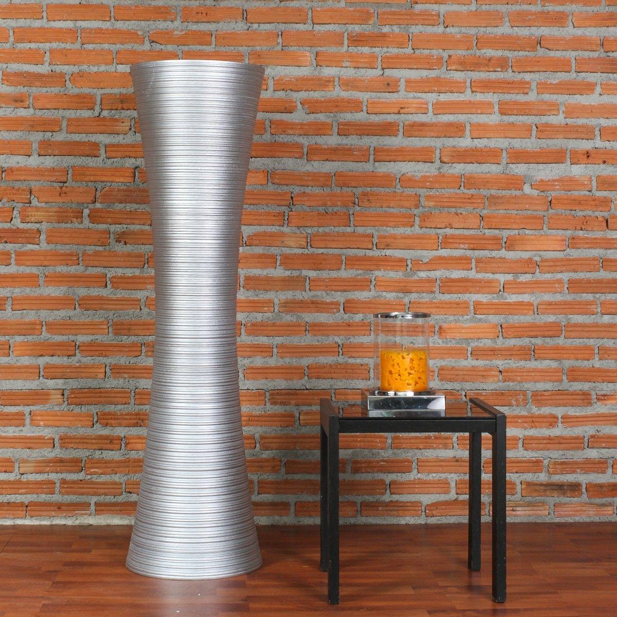 Leewadee Große Große Große Bodenvase für Dekozweige hohe Standvase Design Holzvase, 30x112 cm, Holz, silberfarben cf88a6