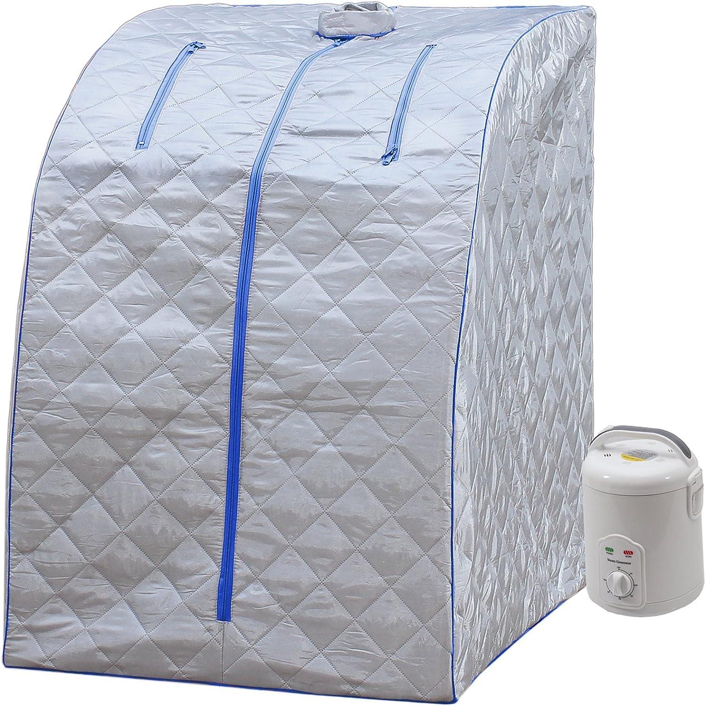 2L Steam Sauna Portable Spa Room Home Beneficial Full Body Slimming Folding Detox Therapy Steam Fold Sauna Cabin Sauna Generator 1 Person Red