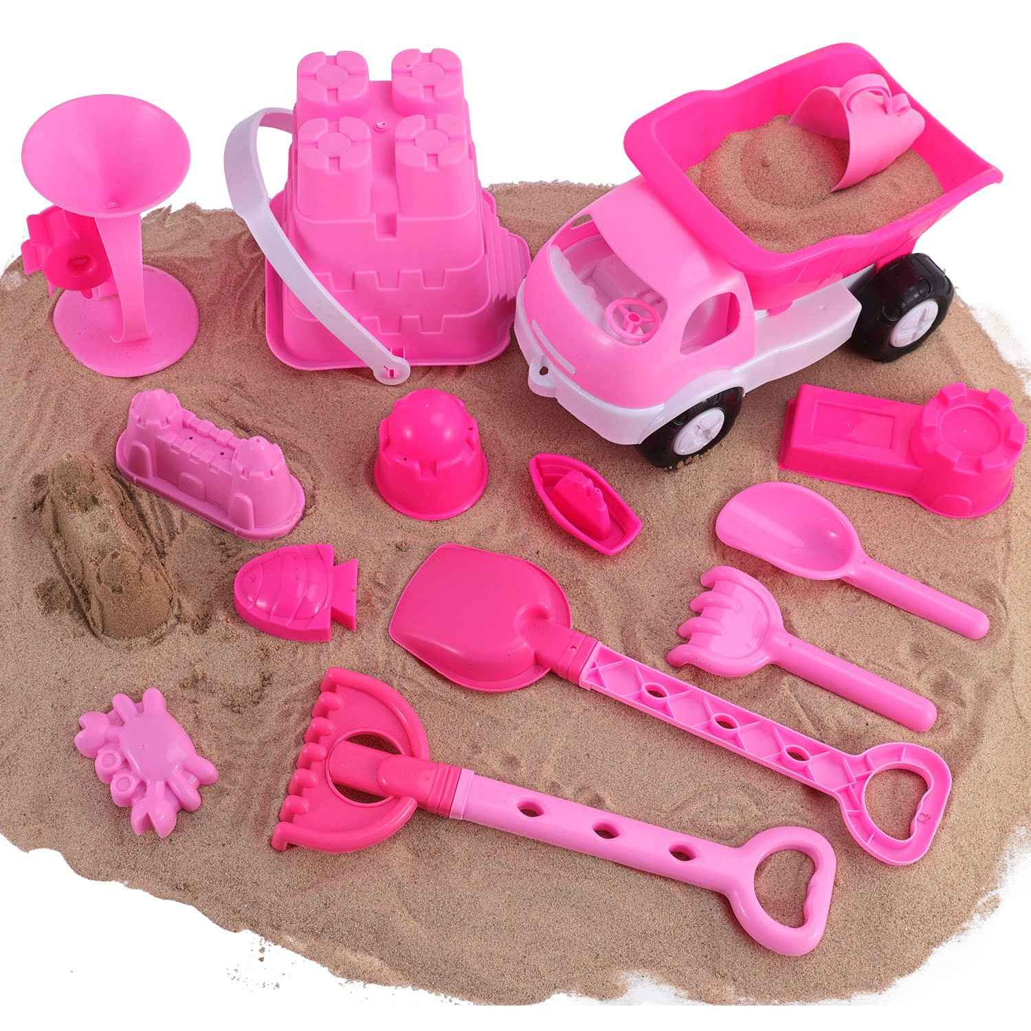 Liberty Imports Pink Princess Castle Beach Set Toy for Girls - Includes Dump Truck, Sand Wheel, Bucket, Play Tools and Molds (14 Pcs Playset)