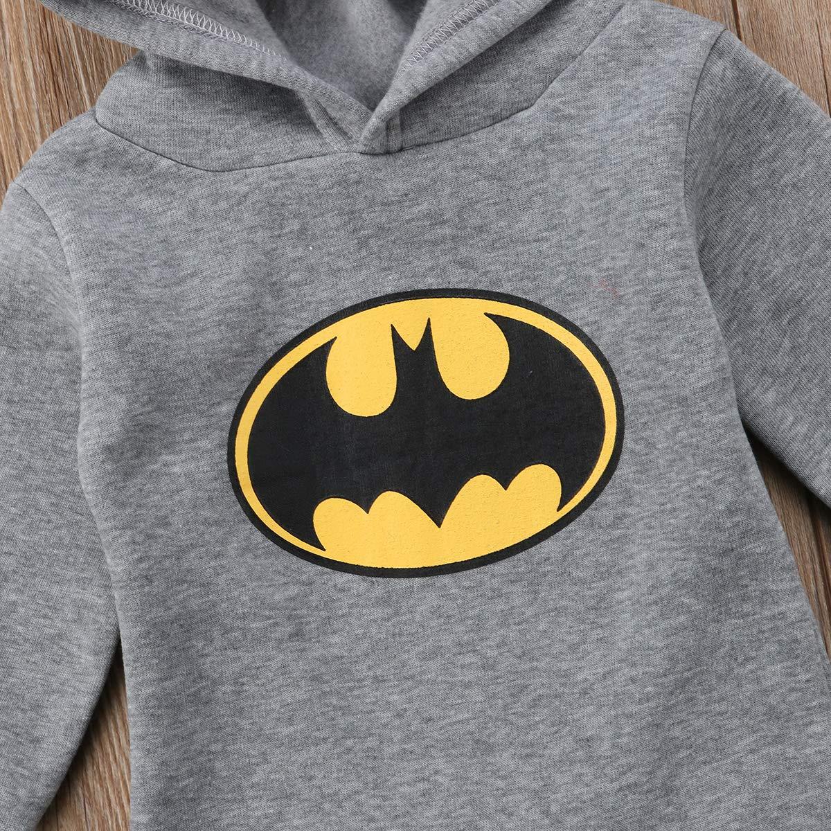Baby-Strampler f/ür Jungen Kleidung f/ür Neugeborene Einteiler lang/ärmelig 0-24 Monate Batman mit Kapuze