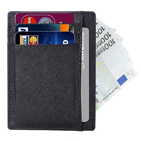 Cartera Tarjeta de Crédito, Bloqueo RFID, Cartera de Piel Minimalista para Tarjetas y Billetes