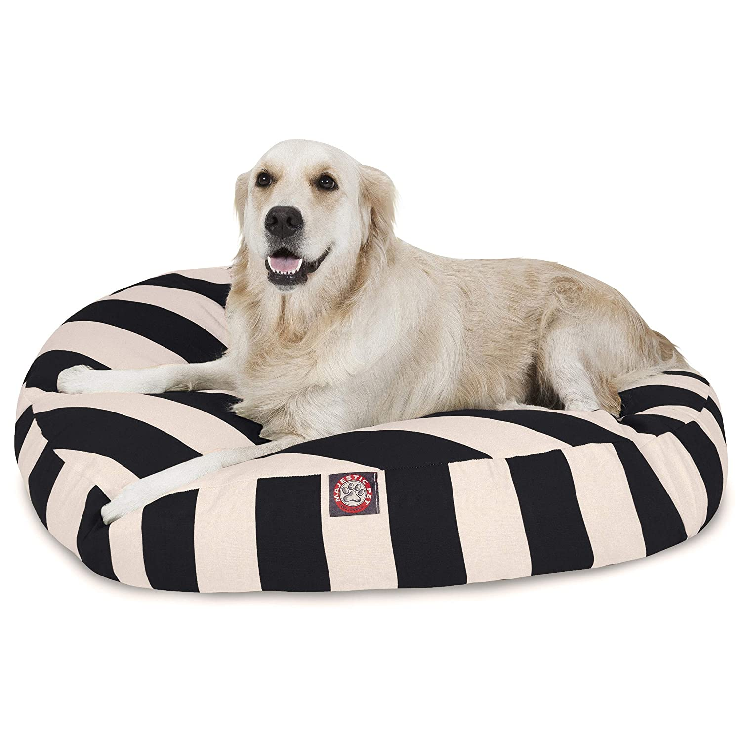 Black greenical Stripe Large Round Indoor Outdoor Pet Dog Bed with Removable Washable Cover by Majestic Pet Products