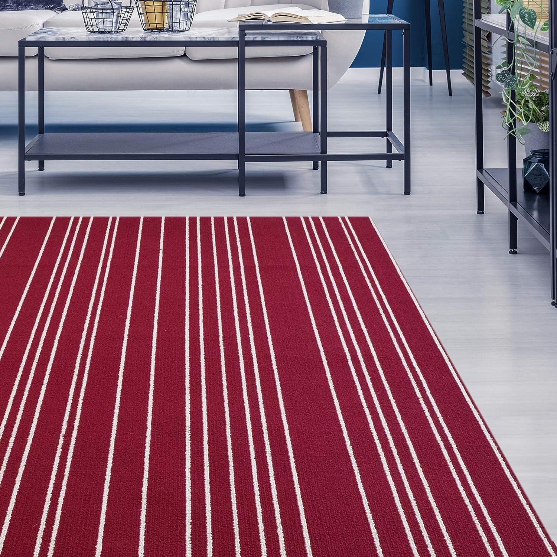 in Red iCustomRug Striped Loop Pile Berber Carpet Non Skid Utility Rug 4ft0in x 6ft0in 4 x 6
