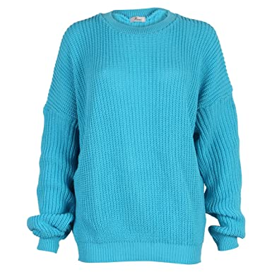 9L Womens Oversized Ladies Knitted Baggy Chunky Jumper Sweater Top ... 1169264bb